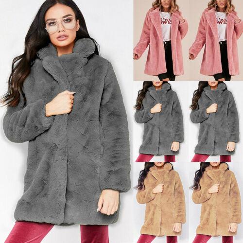 Women Ladies Solid Jumper Outwear Winter Teddy Bear Faux Fur Fluffy Coat Jackets