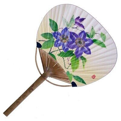 Japanese Uchiwa Flat Fan Hand Held Bamboo Handle Tessen Flower Made in Japan