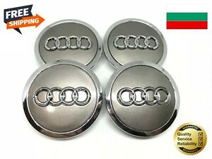 FREE-FAST-4PCS-AUDI-GREY-WHEEL-CENTER-HUB-Cap-4B0601170A-A3-A4-A6-A8-Q5-TT-R8
