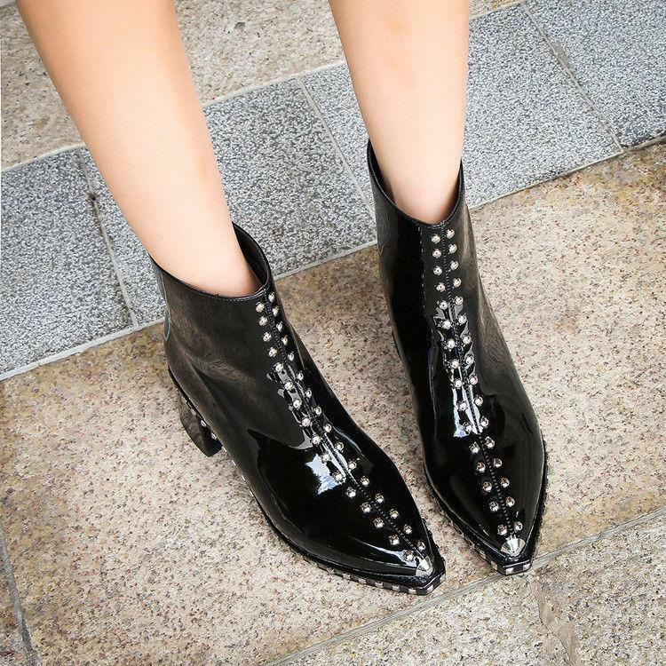 New Womens Block Heels Rivet Pointy Toe Patent Leather Zip Punk Ankle Boots A43
