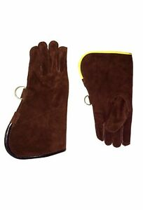 Children-Suede-Leather-Glove-Falconry-Child-Glove-Single-Layer-Dark-Brown-Color