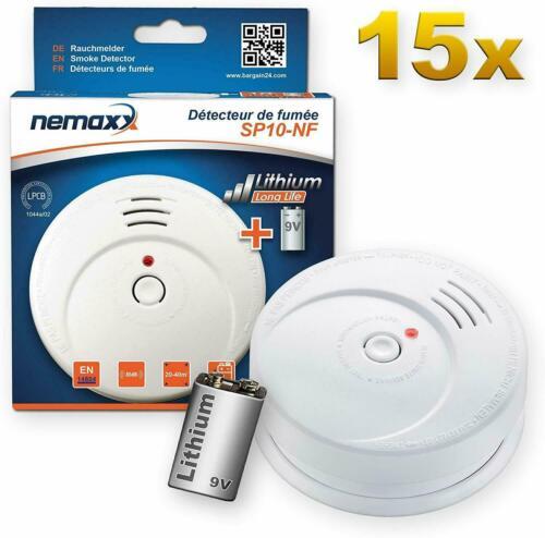 15x Nemaxx SP10-NF Rauchwarnmelder langlebiger Rauchmelder mit 9V Lithiumbatte