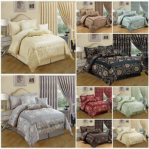 New Luxury 7 Piece Bedspread:Comforter set with Matching Pencil Pleat Curtains