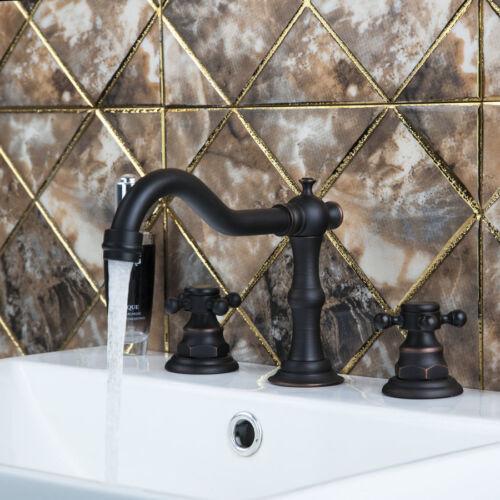 Oil Rubbed Bronze Double Handle Widespread Roman Tap Bathroom Bath Tub Faucet