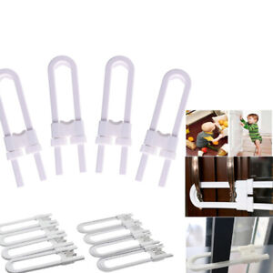 4pcs U-Shaped Lock Child Safety Cabinet Latches For Kitchen Closet Door