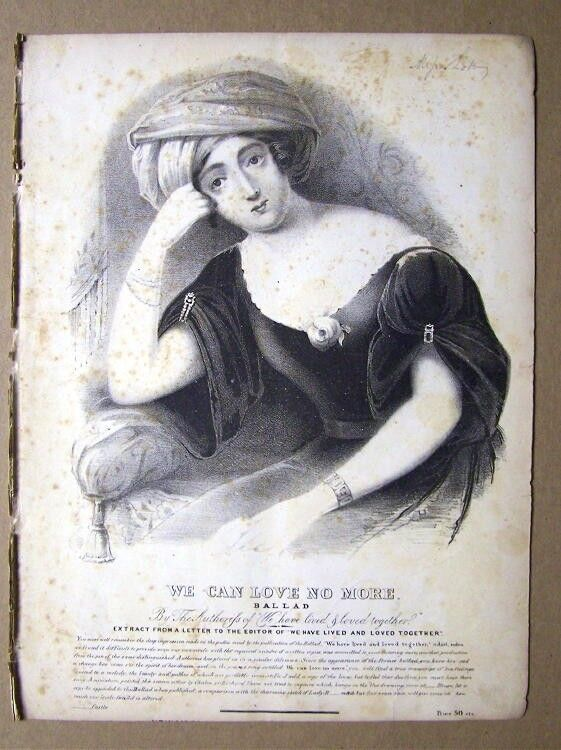 Pre 1840 New York Sheet Music WE CAN LOVE NO MORE Ballad  Portrait Lithograph