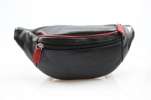 Edle Leder Gürteltasche Bauchtasche Hüfttasche schwarz rot