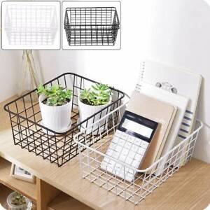 2pcs-kitchen-Iron-Storage-Basket-Desk-Metal-Wire-Mesh-Basketry-Bathroom-Tray-UK