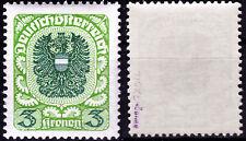 Österreich 316 xc **, 3 Kr.Wappen, gelbgrün/dunkelbläulichgrün,  gepr. Hübner