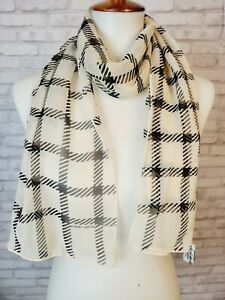 Vintage Albert Nipon silk scarf cream and black plaid sheer oblong