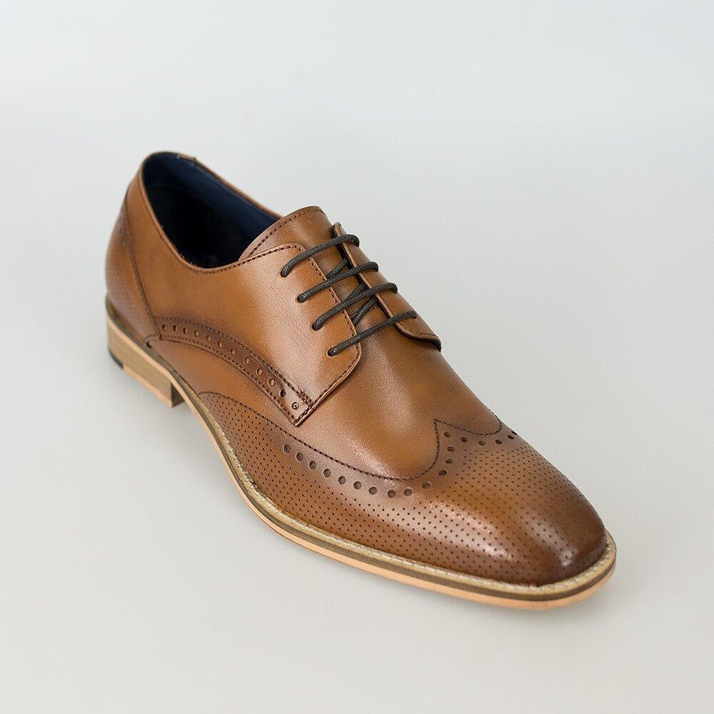 Cavani Men's Rome Punch Brogue Leather shoes Cherry, Tan, Black, Sizes 7 to 12