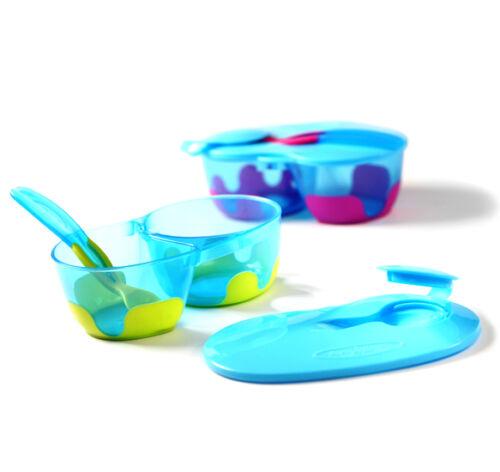 FEEDING BOWL BabyOno 1021 double for baby feeding with spoon lid NO BISFENOL A