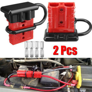 image is loading 2pc-50a-battery-quick-connect-disconnect-winch-electrical-