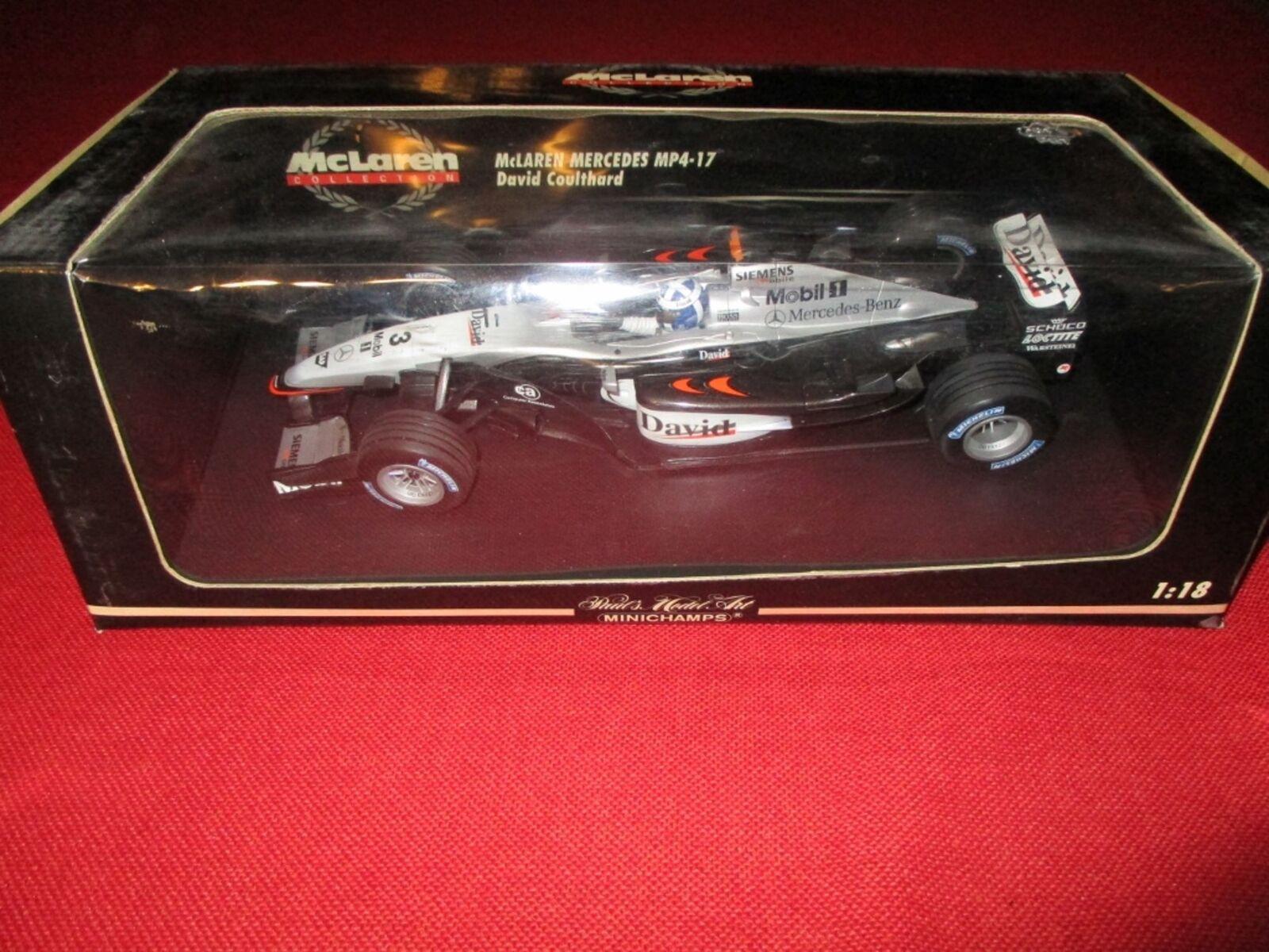 MINICHAMPS ® 530 021803 1 18 McLaren Mercedes mp4-17 David Coulthard neuf neuf dans sa boîte
