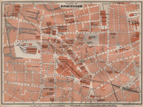 BAEDEKER 1906 old map chart BIRMINGHAM CITY CENTRE antique town plan