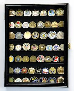 Army Navy Police Military Challenge Coin Display Case Holder Rack 98%UV Lockable