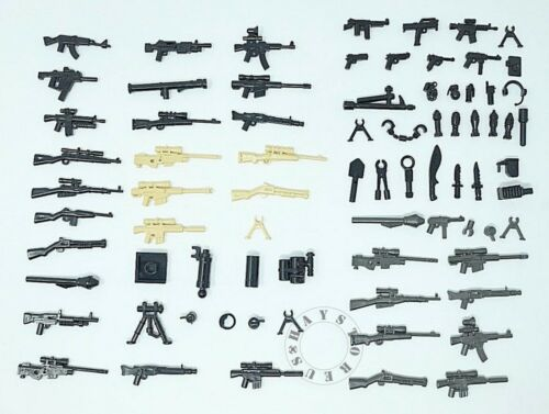 52pcs Custom Guns Lot WW2 SWAT Military Police Toy Weapons for Lego Minifigures!