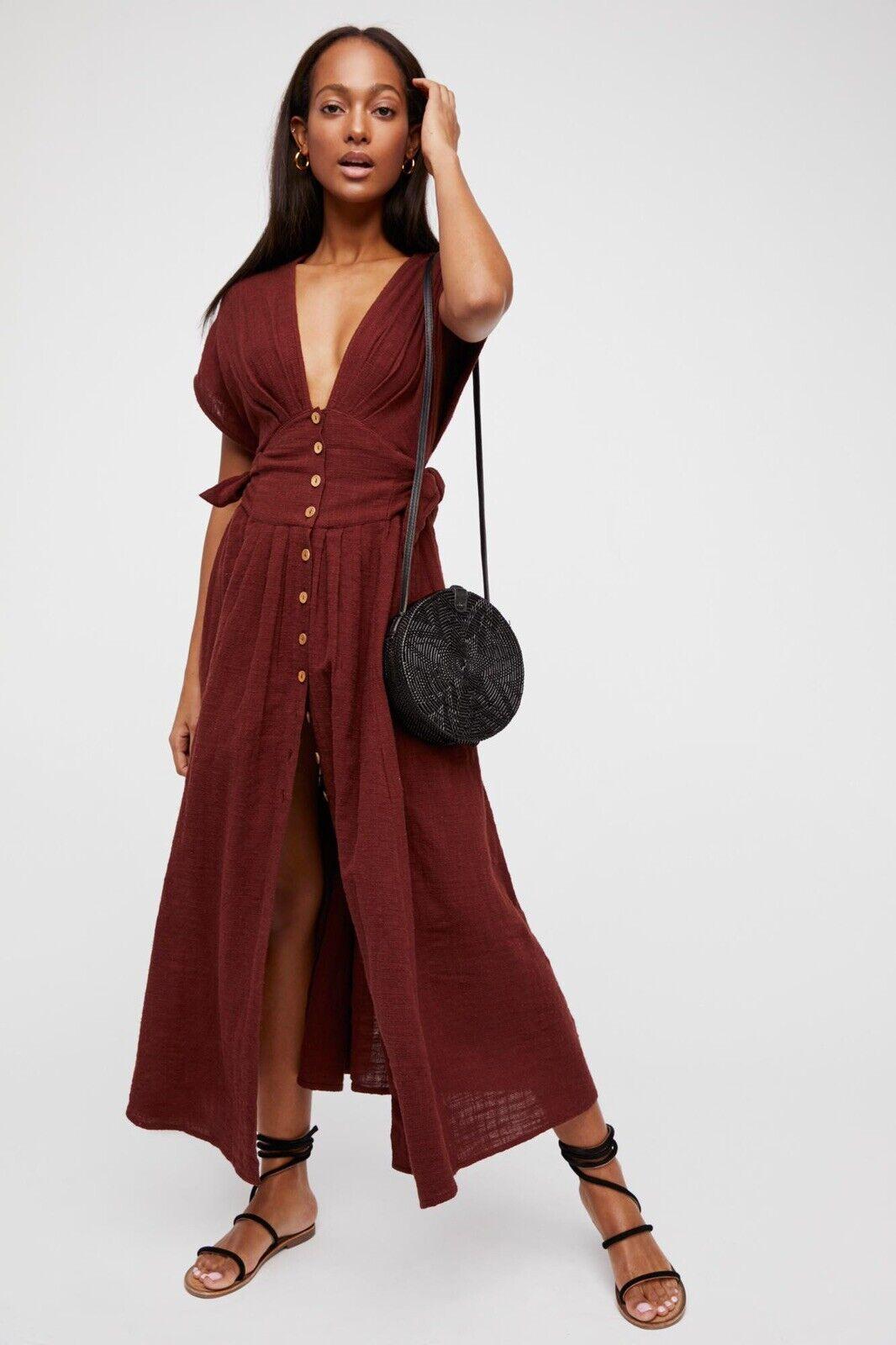 Nouveau FREE PEOPLE Endless Summer Sz XS Jacinta Midi robe Dolman boutonné devant
