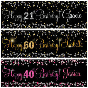2-personalised-birthday-banner-Silver-Gold-Pink-party-wedding-celebration-poster