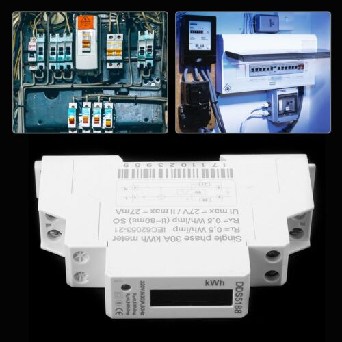 Digital LCD 220V Single Phase DIN-Rail 5-30A Electronic Energy KWh Meter AF