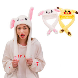31417ca4 Cute Rabbit Hat Ear Will Move When You Hold The Leg Funny Plush Hat ...