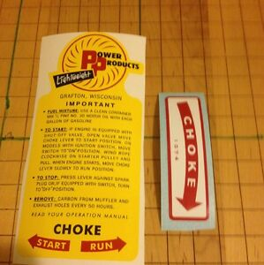 Power-Products-Lightweight-AH-47-Decal-Grafton-Wis-Mixture-And-Choke-Directions