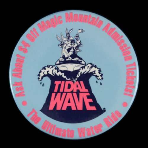 "1980/'s Six Flags Magic Mountain Tidal Wave Bugs Bunny Daffy Duck 3/"" Button"
