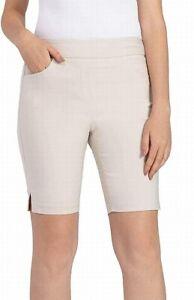 Tribal Womens Bermuda Shorts Beige Size 12P Petite Pull On Ponte Stretch $54 654