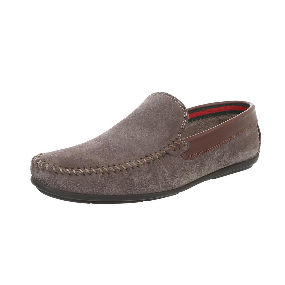 Cuero mocasines zapato bajo zapatos caballero de diseño nuevo talla 42 gris marrón 0318