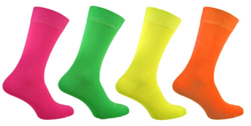 Mens 4 Pairs Neon Socks Teddy Boy Quality Bright Designs Fancy Dress Size 6-11