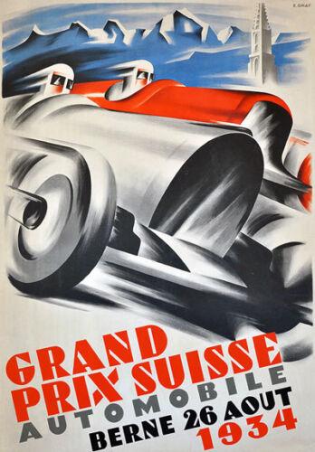 "Ad89 Vintage 1934 Swiss Grand Prix Motor Racing Anuncio Cartel A3 17 /""x12/"""
