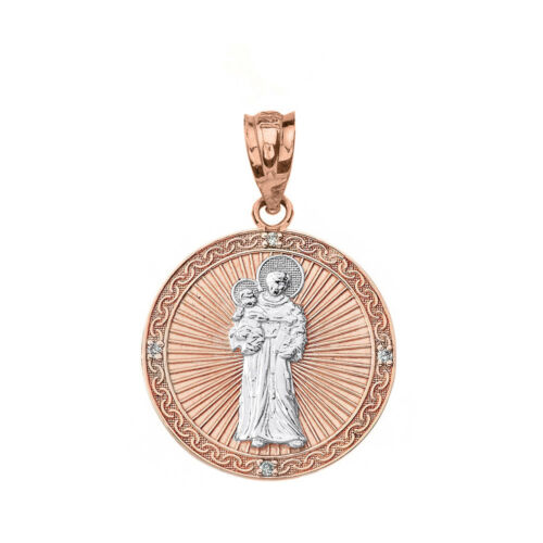 """Details about  /10k Two Tone Rose Gold Diamond Engravable Saint Anthony 1.06/"""" Pendant Necklace"""
