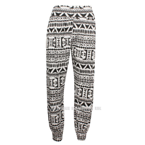Da Donna Azteco Monocromatico Stampa Harem Pantaloni Baggy Lunghezza Intera Pantaloni Taglie Forti