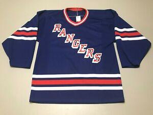 Vintage-80s-New-York-Rangers-NHL-Sewn-Stripe-Blue-CCM-Hockey-Jersey-Adult-Size-M
