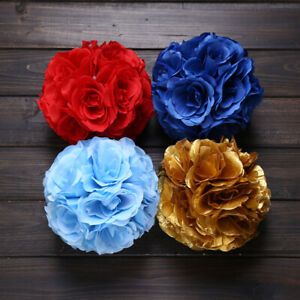 GI-HK-Artificial-Silk-Rose-Flower-Kissing-Ball-Pomander-Wedding-Party-Bouquet