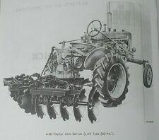 Ih Mccormick Farmall Super A 38 Tractor Rear Lift Disk Harrow Owners Manual