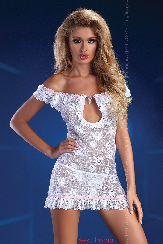 SEXY mini abito PIZZO bianco+ TANGA s m o l xl TRASPARENTE lingerie intimo GLAM