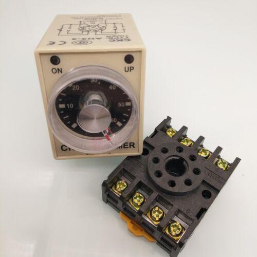 AH3-3 230V Netzteil Verzug Timer Zeitrelais 0-60 Sekunden mit Sockel 8Pin