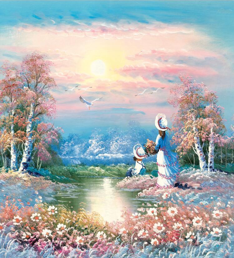 3D Hbscher Fluss 105 Fototapeten Wandbild Fototapete Bild Tapete Familie Kinder