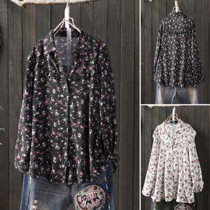 ZANZEA-Femme-Loisir-Imprime-Floral-Manche-Longue-Plisse-Chemise-Shirt-Tops-Plus