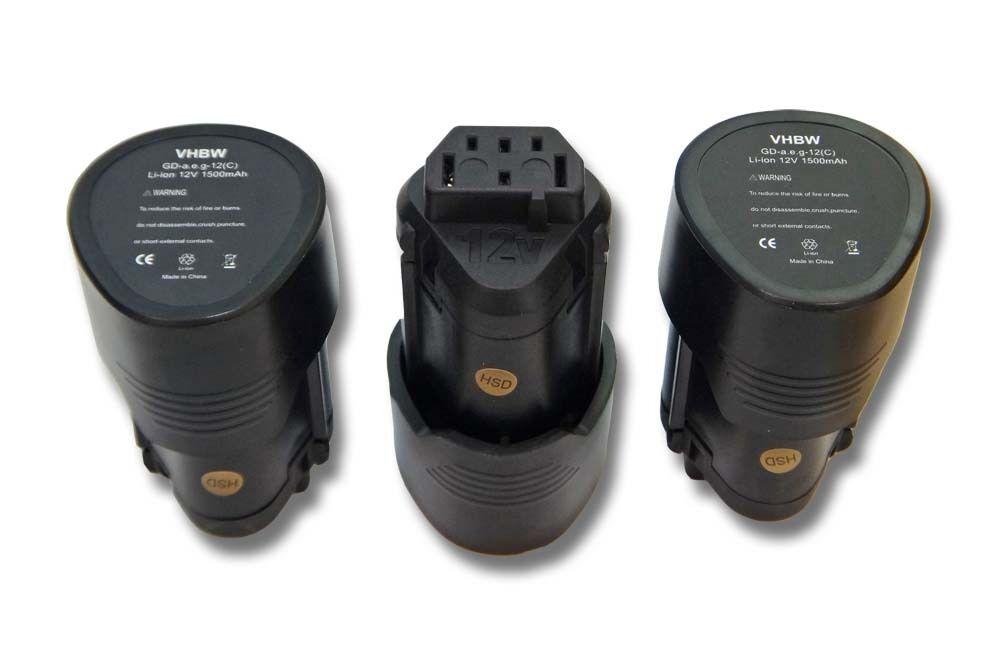 3x BATTERIA VHBW 1500mAh 12V nero per AEG L1215, L1215P, L1215R, R86048