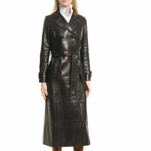 Black-Leather-Trench-Coat-Women-039-s-Genuine-Leather-Long-Overcoat-Winter-Jacket