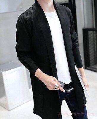 Men Casual Knitwear Jacket Cardigan Mid Long Korean Style