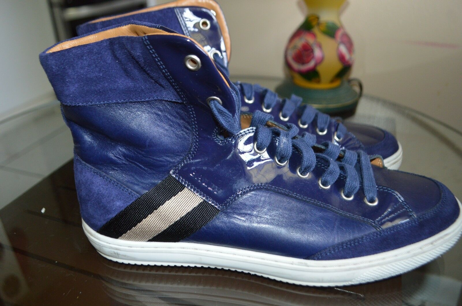 BALLY MAN SHOES SNEAKERS HIGH TOP OLDANI 146 blueE ALL LEATHER US 8D