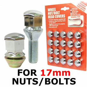 Bolt Head 17mm Grey Covers Caps Plastic Hexagonal Protectors 20 Car Wheel Nut