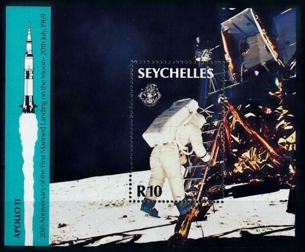 100% De Qualité Seychelles 1989 Moon Landing Feuille Armstrong/aldrin/collins-in/collins