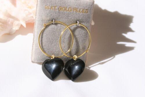 VINTAGE BEAUTIFUL 14K GOLD FILLED  HOOP  EARRINGS /& ONYX HEART SIGNED /& ORIGINAL