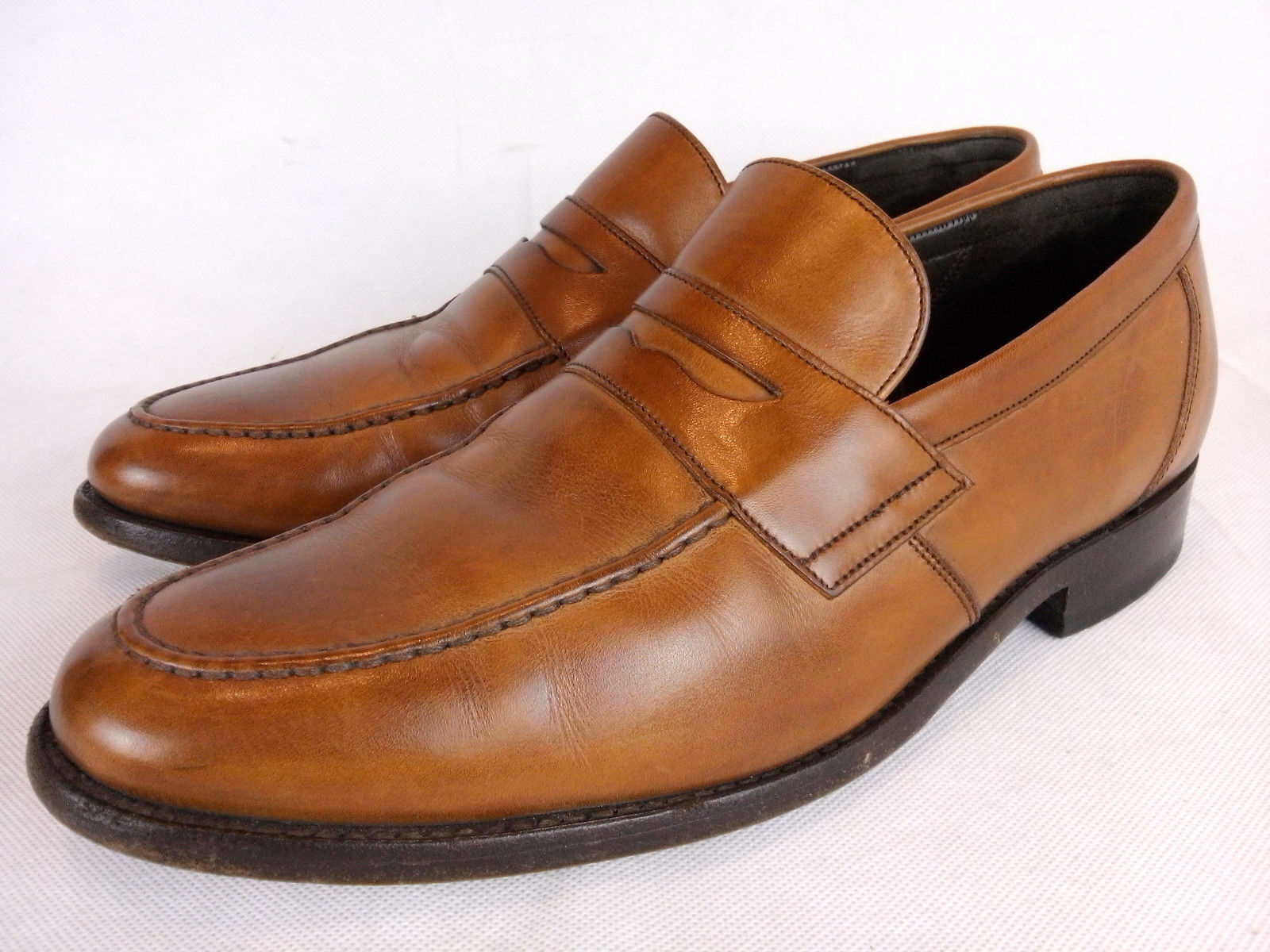 Barker England Brown Calf Leather Welted Penny Loafers Slip Ons F