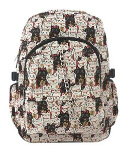 LUCKY-CAT-Cute-Chinese-Kitty-Backpack-Rucksack-School-College-Gym-Goth-Rock-Bag