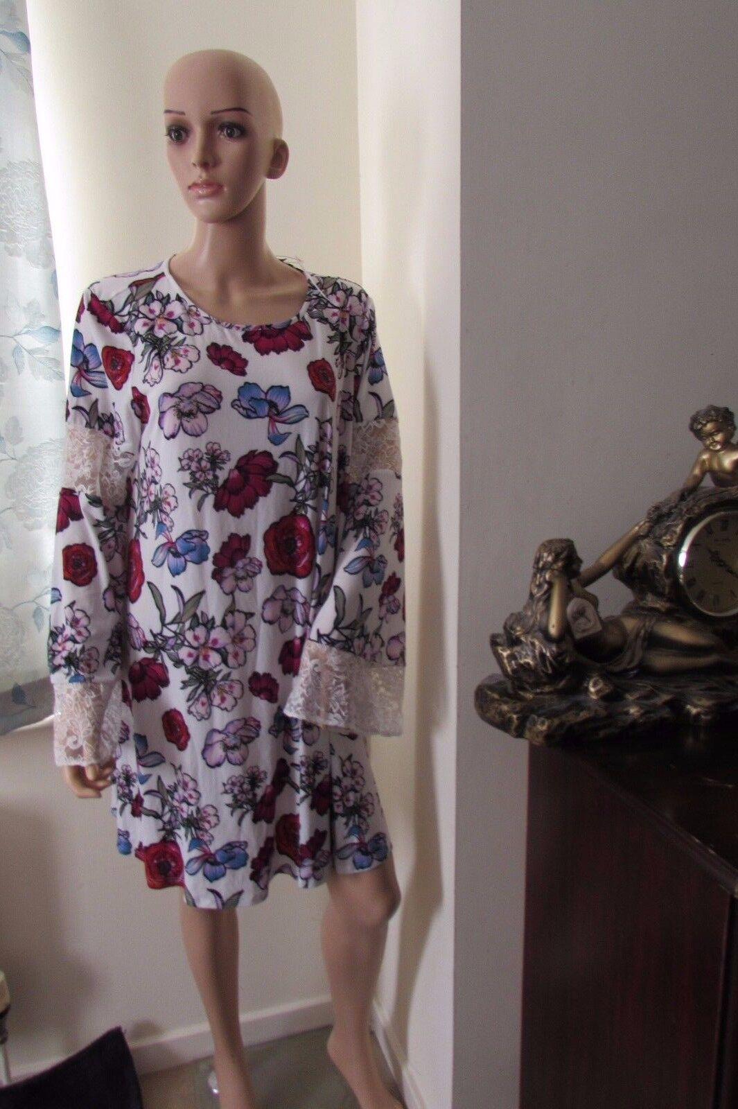 ASOS Lace Insert Swing Dress Print 18 White Multi